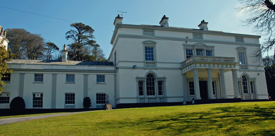looking across the lawn to the front of Lupton House