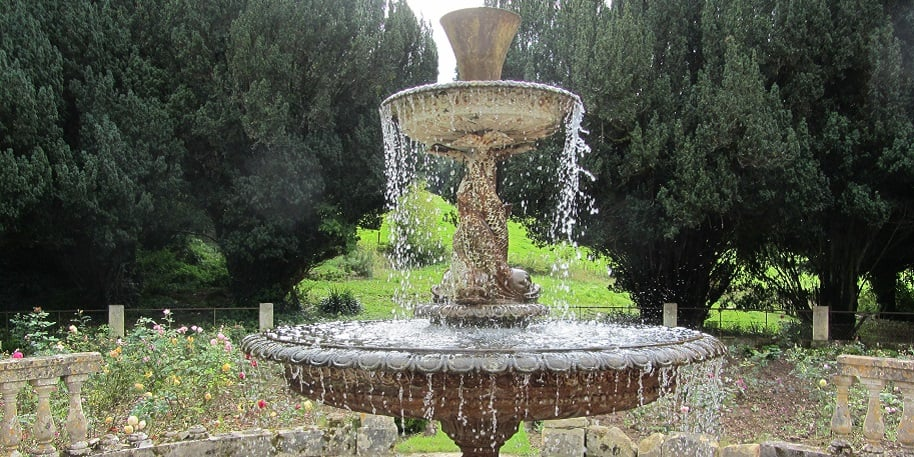 looking at the fabulous fountain at Lupton House